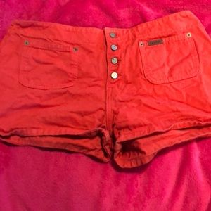 Calvin Klein red high waster jean shorts size 13